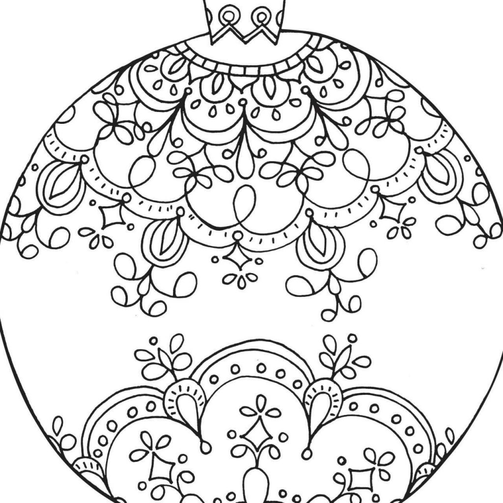 Christmas Coloring Pages Ornaments With Of Bows Awesome