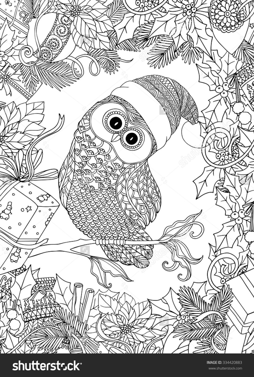 Christmas Coloring Pages Owls With Book For Adult And Older Children Page Cute
