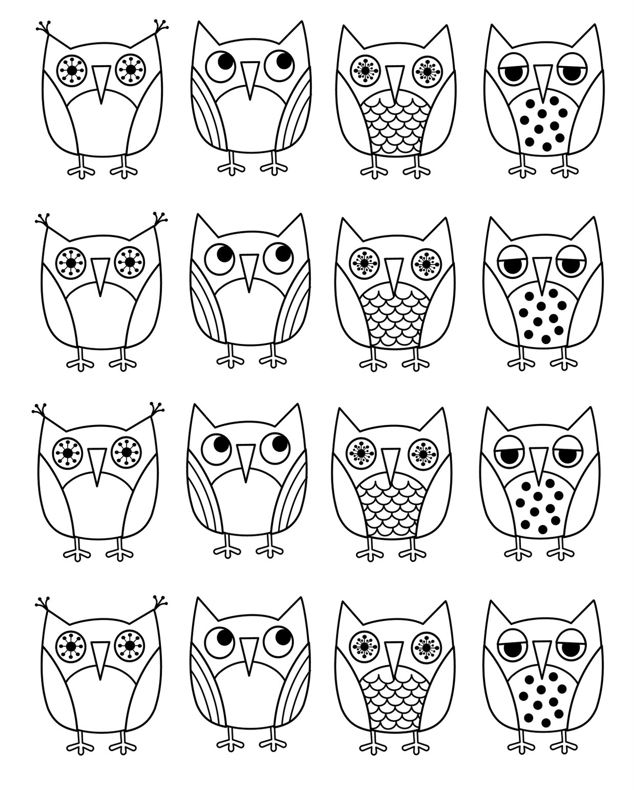 Christmas Coloring Pages Owls With Free Printable Owl For Kids