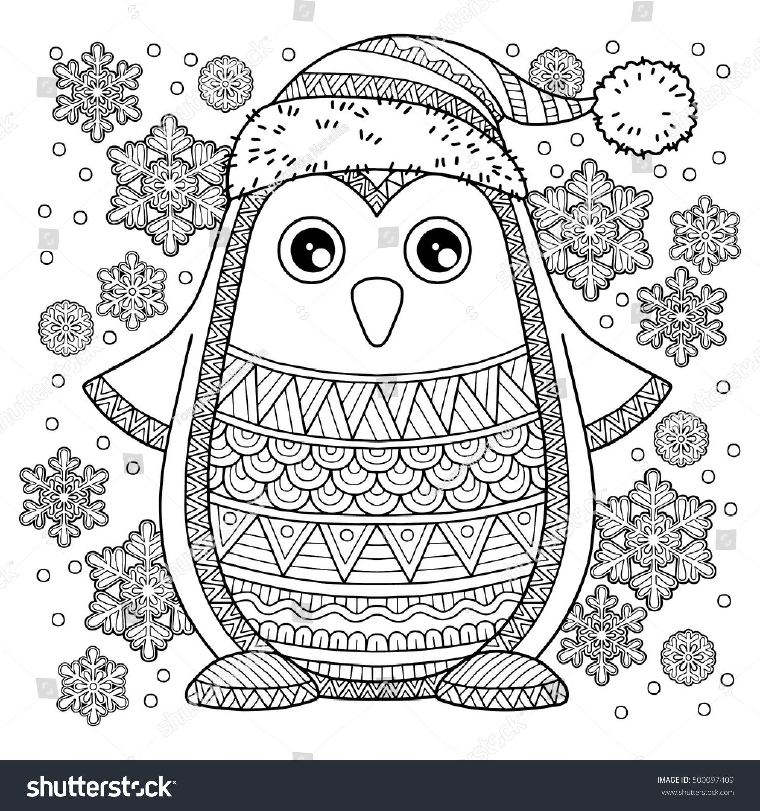 Christmas Coloring Pages Owls With Merry Jolly Penguin The Detailed For