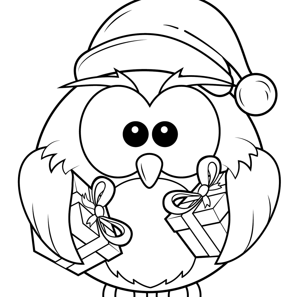 Christmas Coloring Pages Owls With Owl 3 By Kyle Pinterest