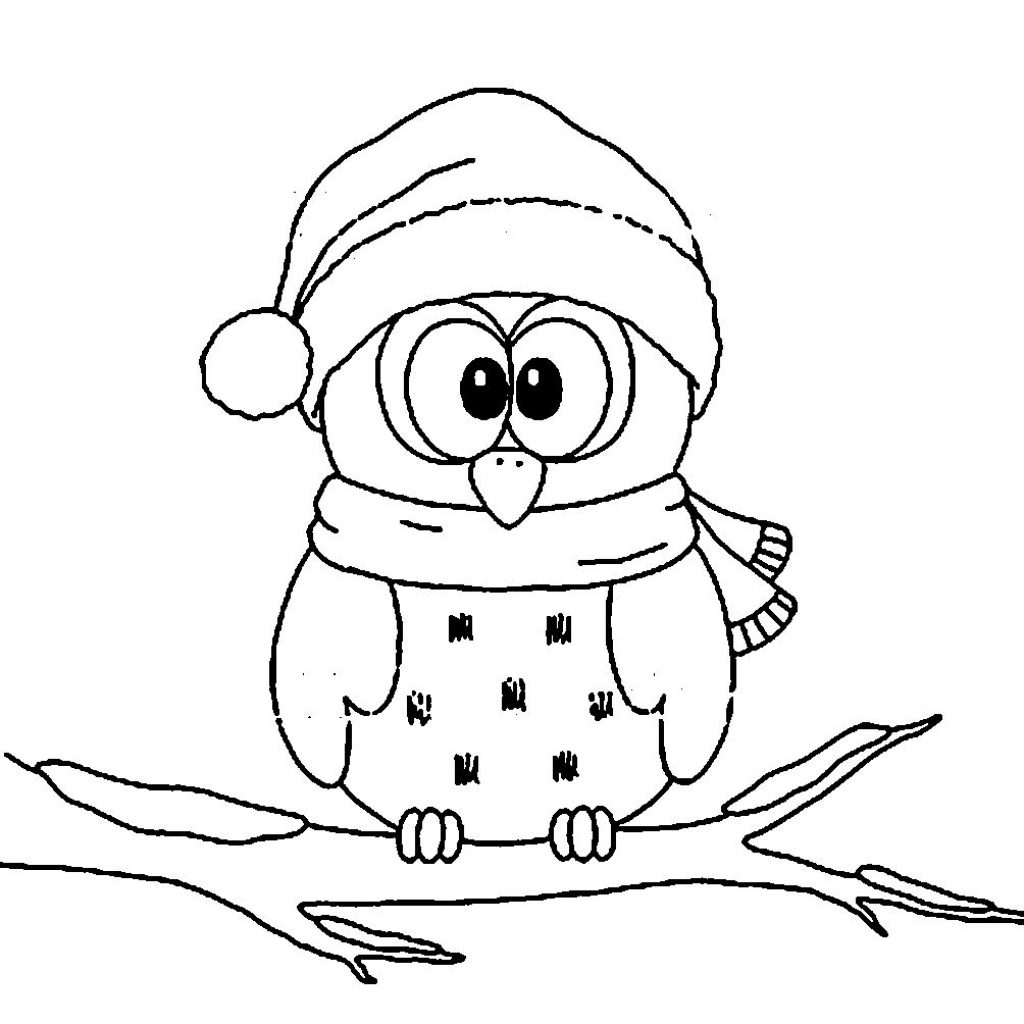 Christmas Coloring Pages Owls With Owl Cute For An Ornament MF Classroom Pinterest