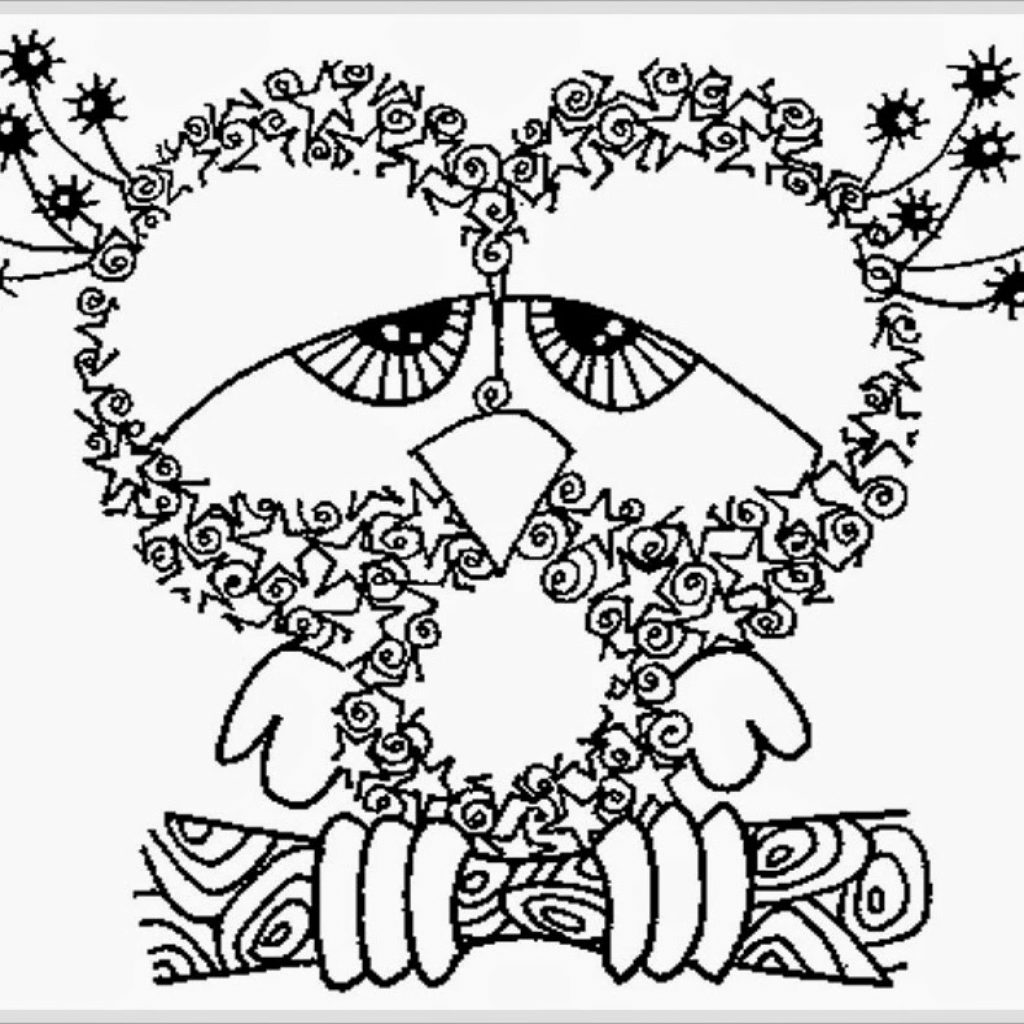 Christmas Coloring Pages Owls With Owl Sheets For Adults 2543274