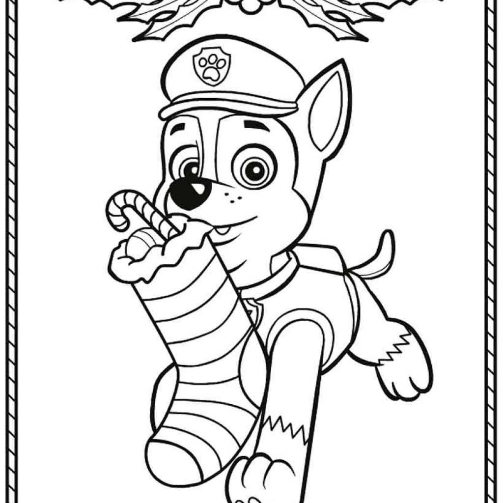 Christmas Coloring Pages Paw Patrol With Christmaswalls Co