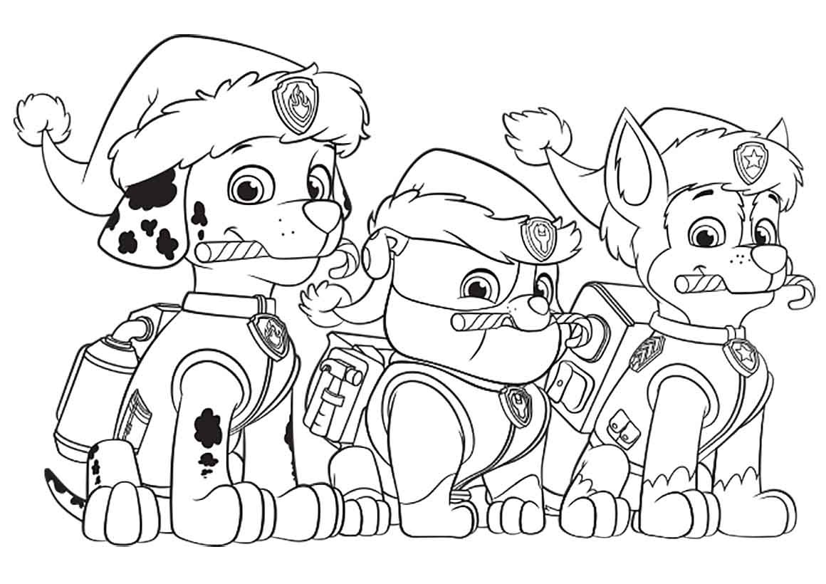 Christmas Coloring Pages Paw Patrol With PAW Free At Animage Me