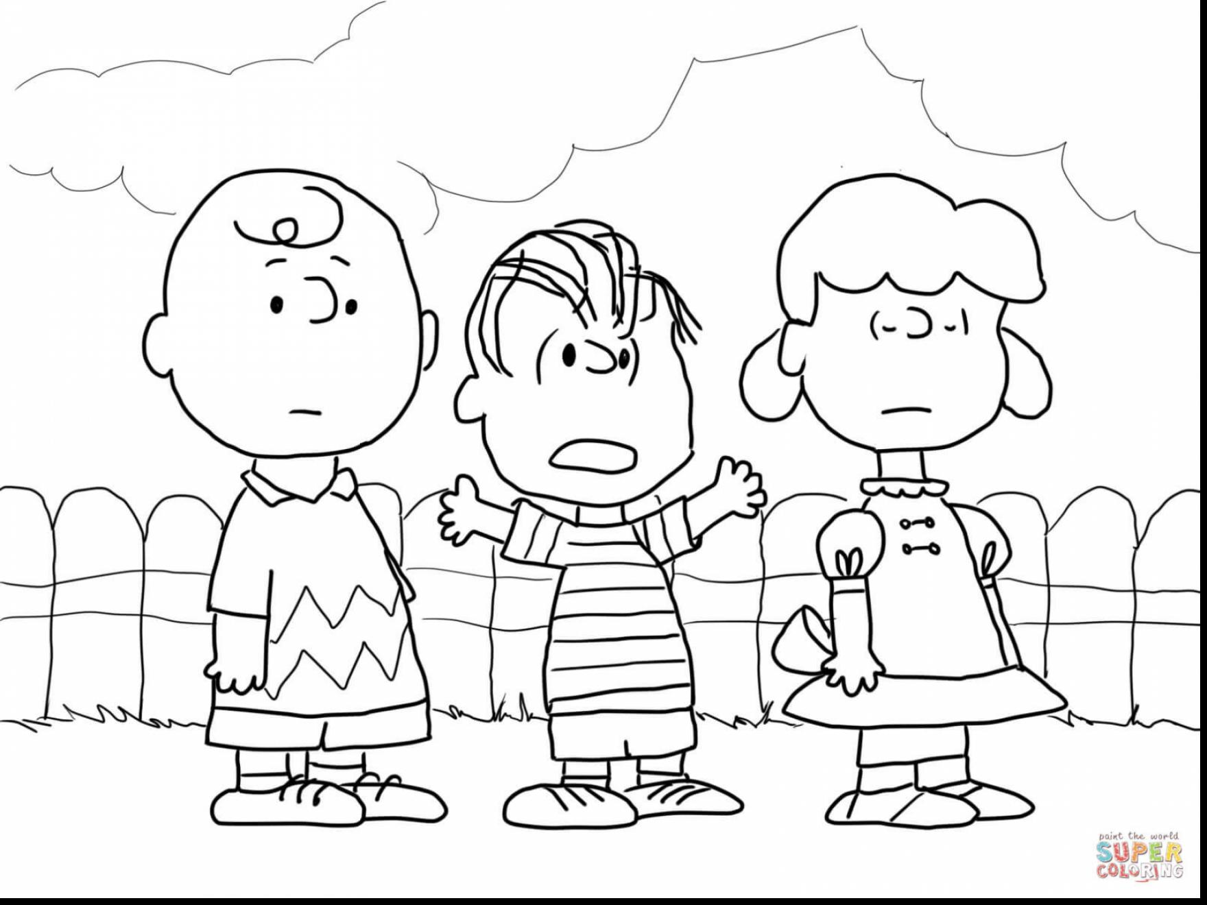 Christmas Coloring Pages Peanuts With Characters Free Library