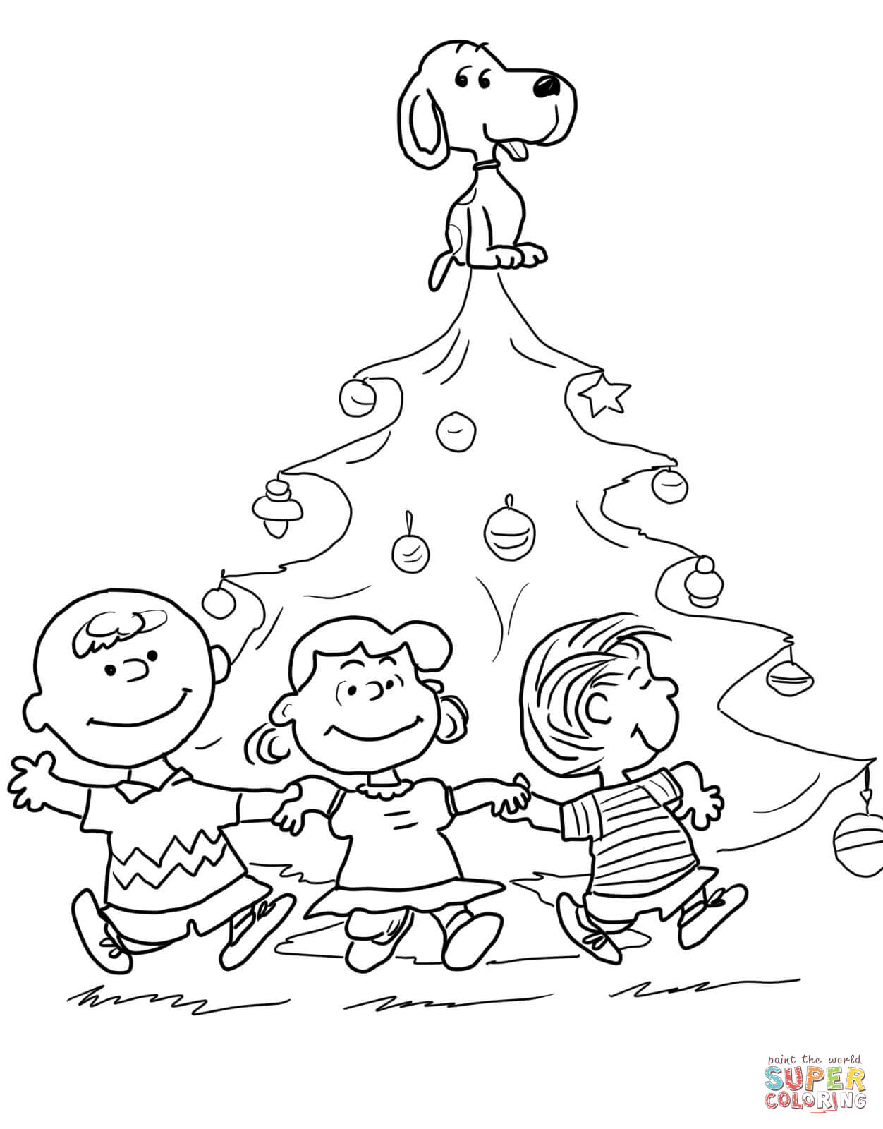 Christmas Coloring Pages Peanuts With Charlie Brown Tree Page Free Printable