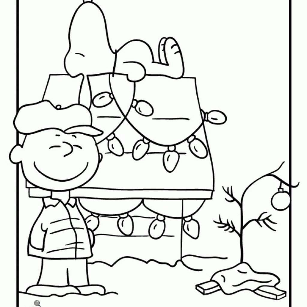 Christmas Coloring Pages Peanuts With Snoopy Thecannonball Org