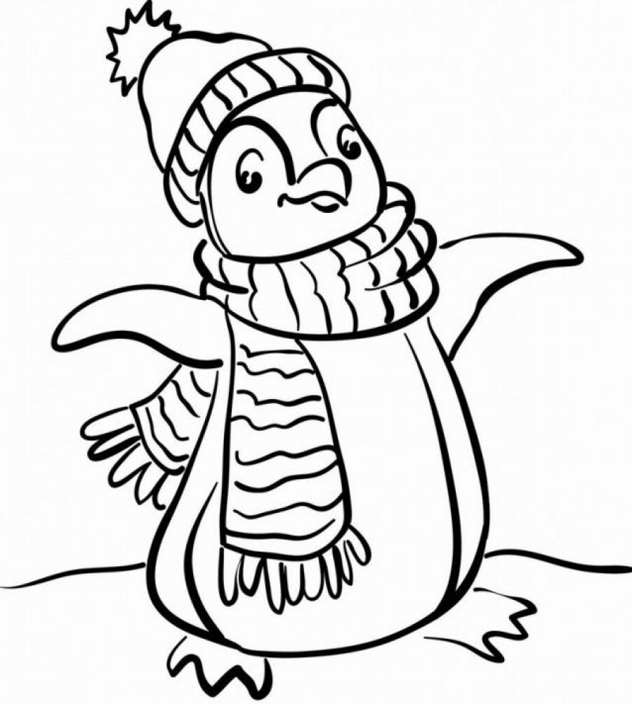 Christmas Coloring Pages Penguins With Free Penguin Page 01 Clinicals Pinterest