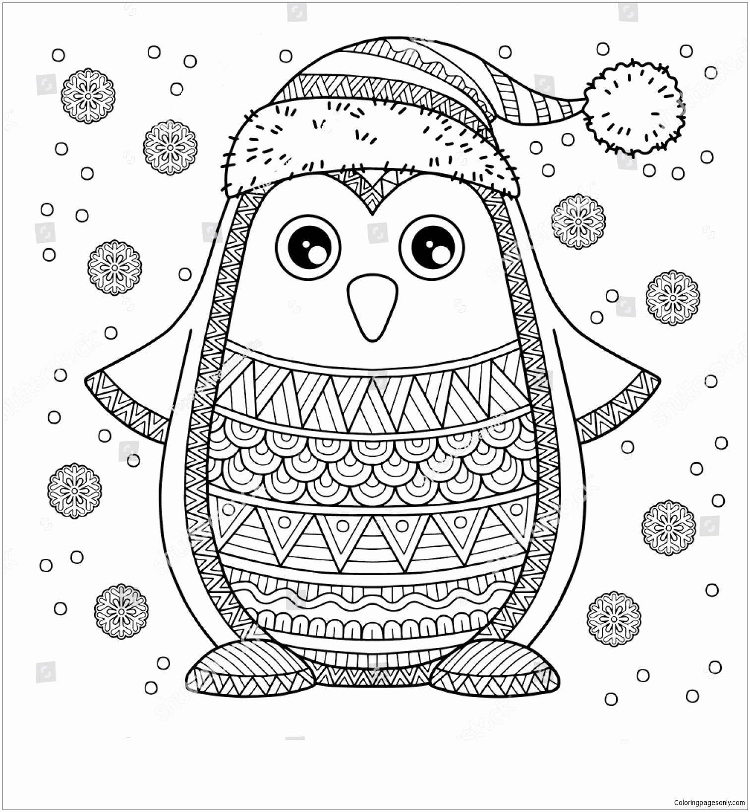 Christmas Coloring Pages Penguins With Penguin New Sheets