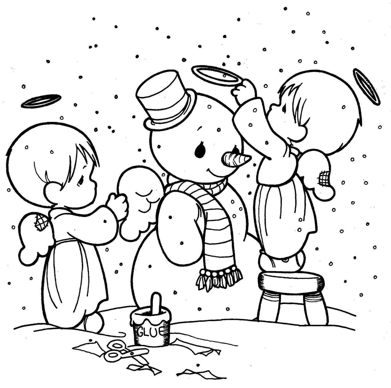 Christmas Coloring Pages Precious Moments With Page Snowman Coloriage Poupee