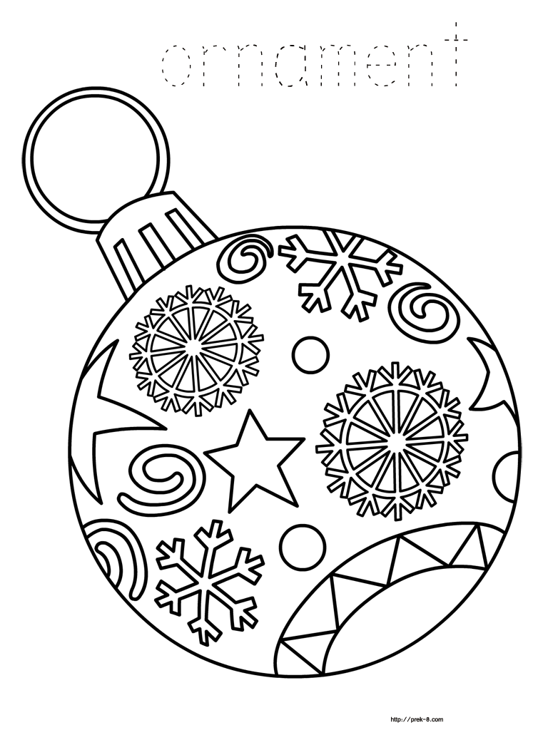 Christmas Coloring Pages Prek With Ornaments Free Printable For Kids Paper