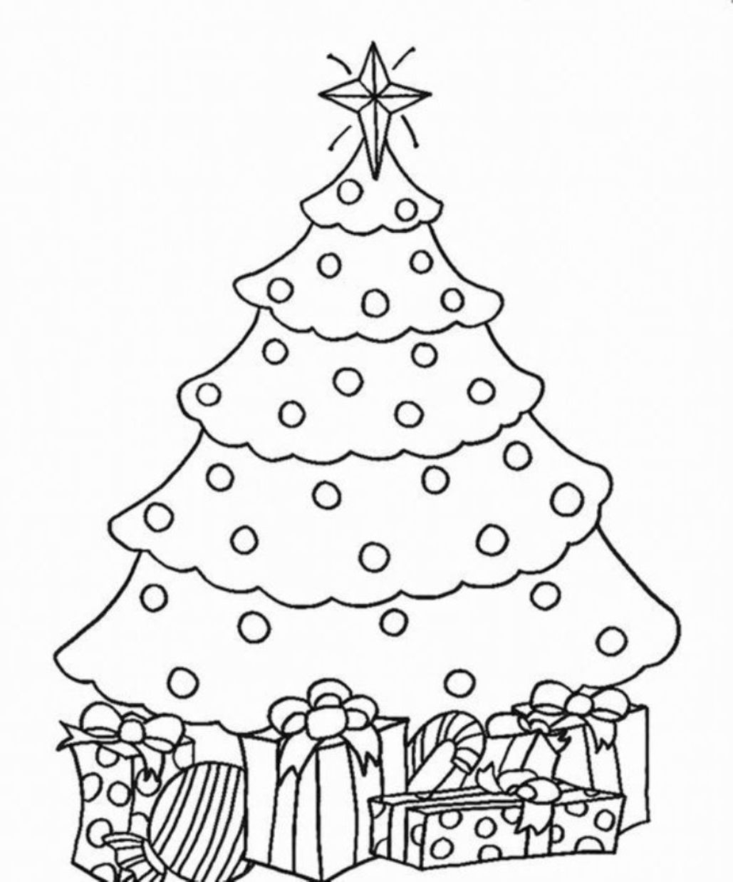 Christmas Coloring Pages Presents With Best Of Tree For Kids
