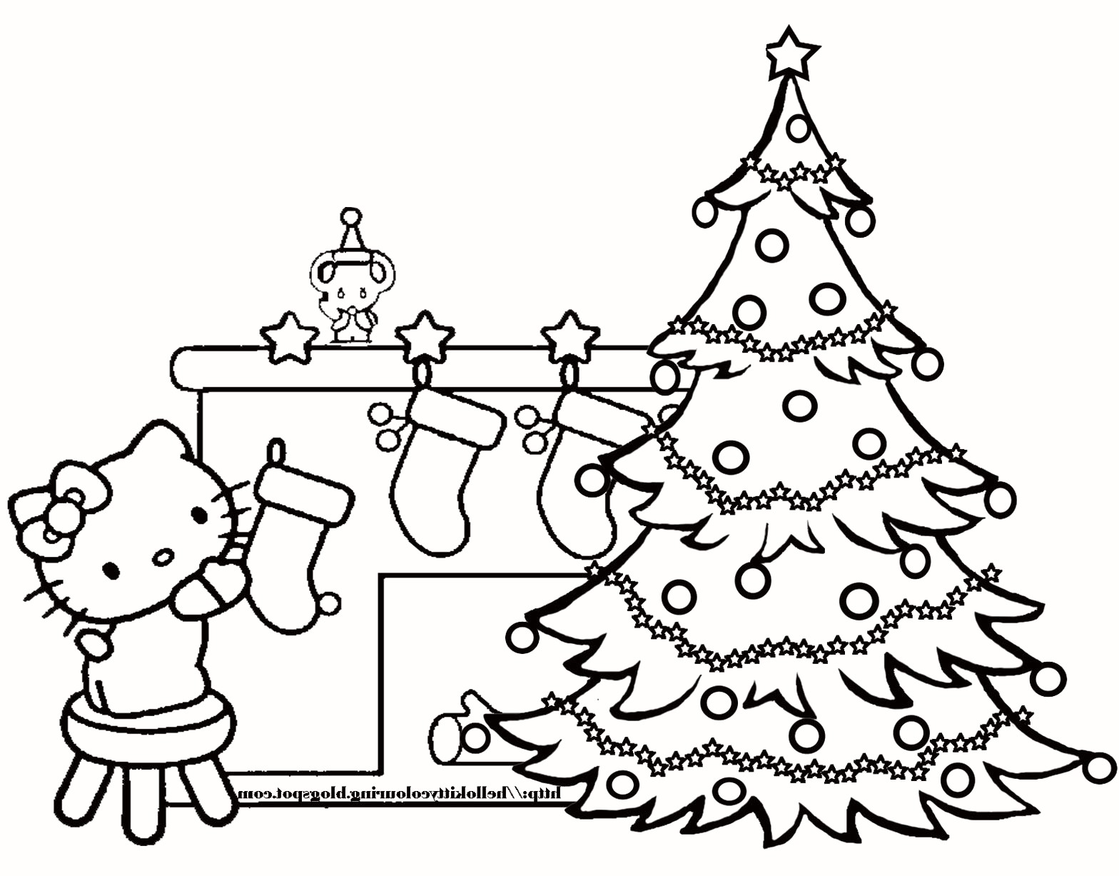 Christmas Coloring Pages Presents With Big Trees Valid