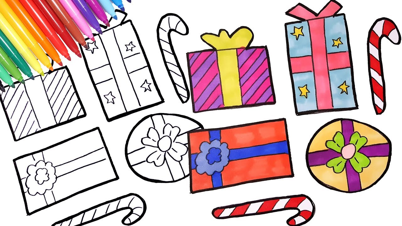 Christmas Coloring Pages Presents With How To Draw Gifts