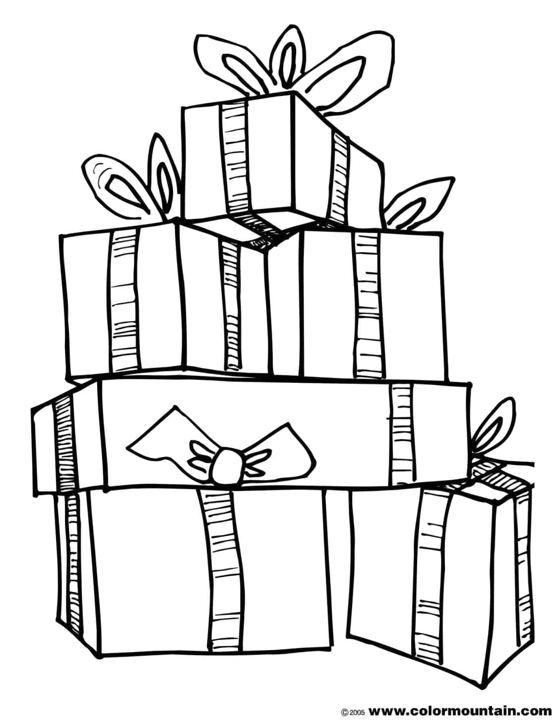 Christmas Coloring Pages Presents With Present For Kids Nazly Me