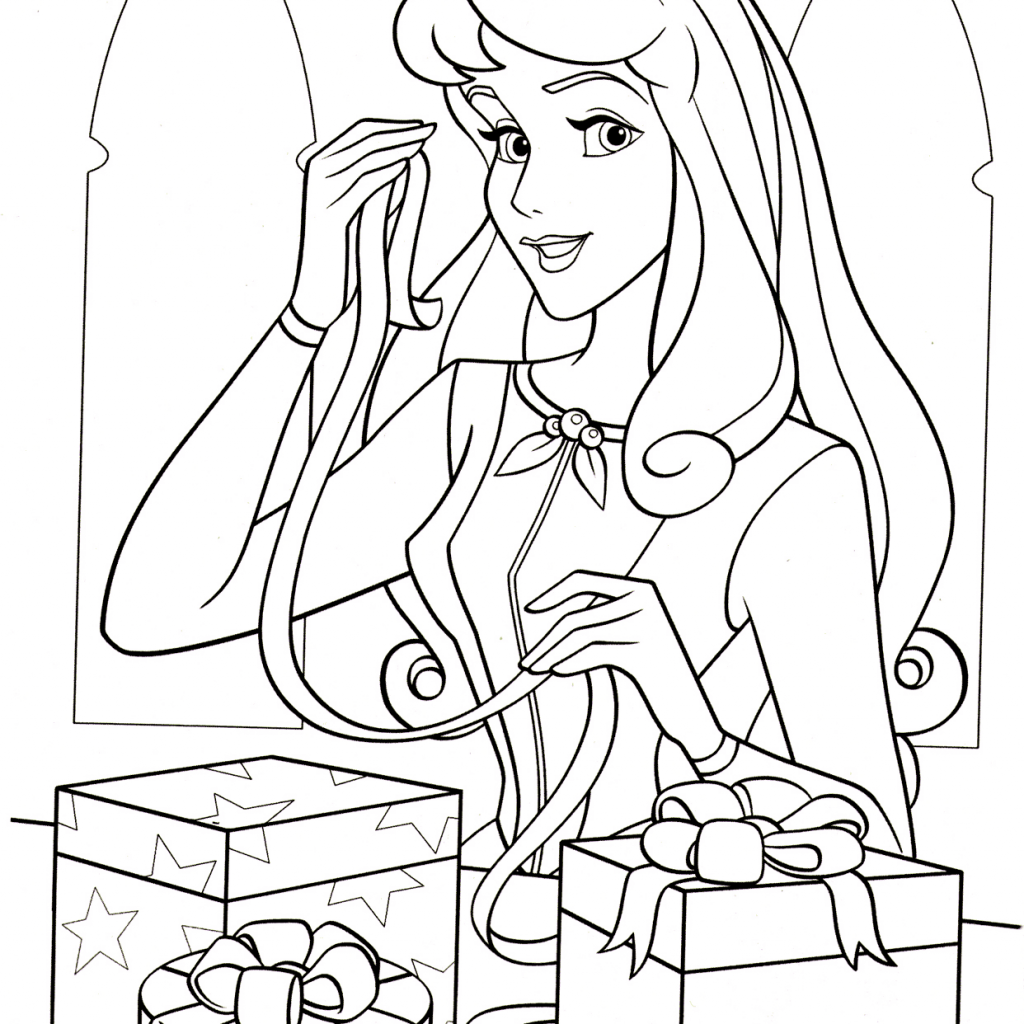 Christmas Coloring Pages Princess With Aurora Loves Page Free Printable