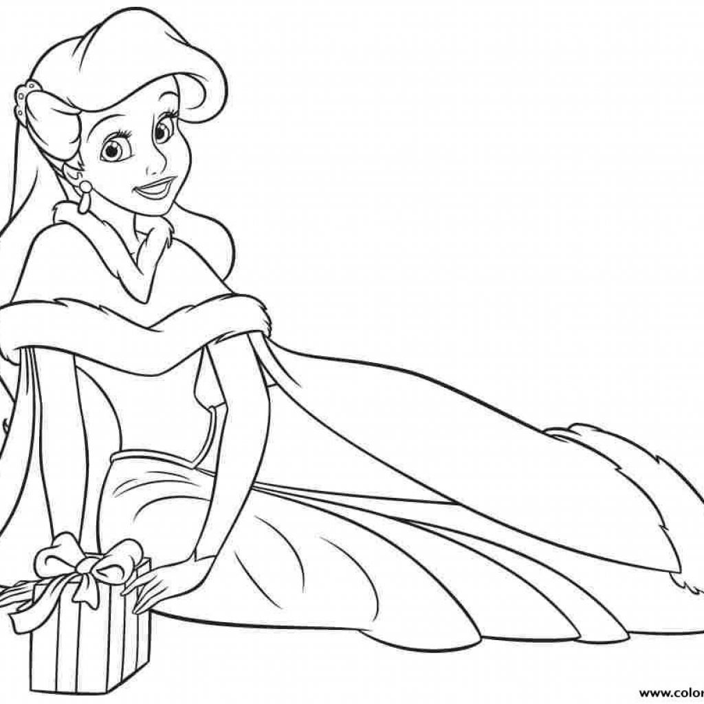 Christmas Coloring Pages Princess With Print Ariel Human