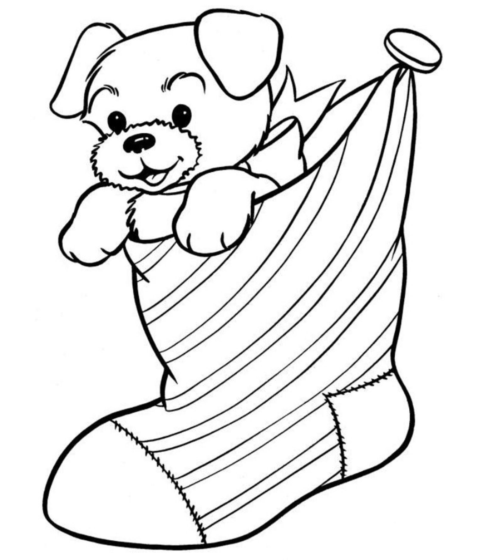 Christmas Coloring Pages Printable Free With Puppy In The Stocking For Within