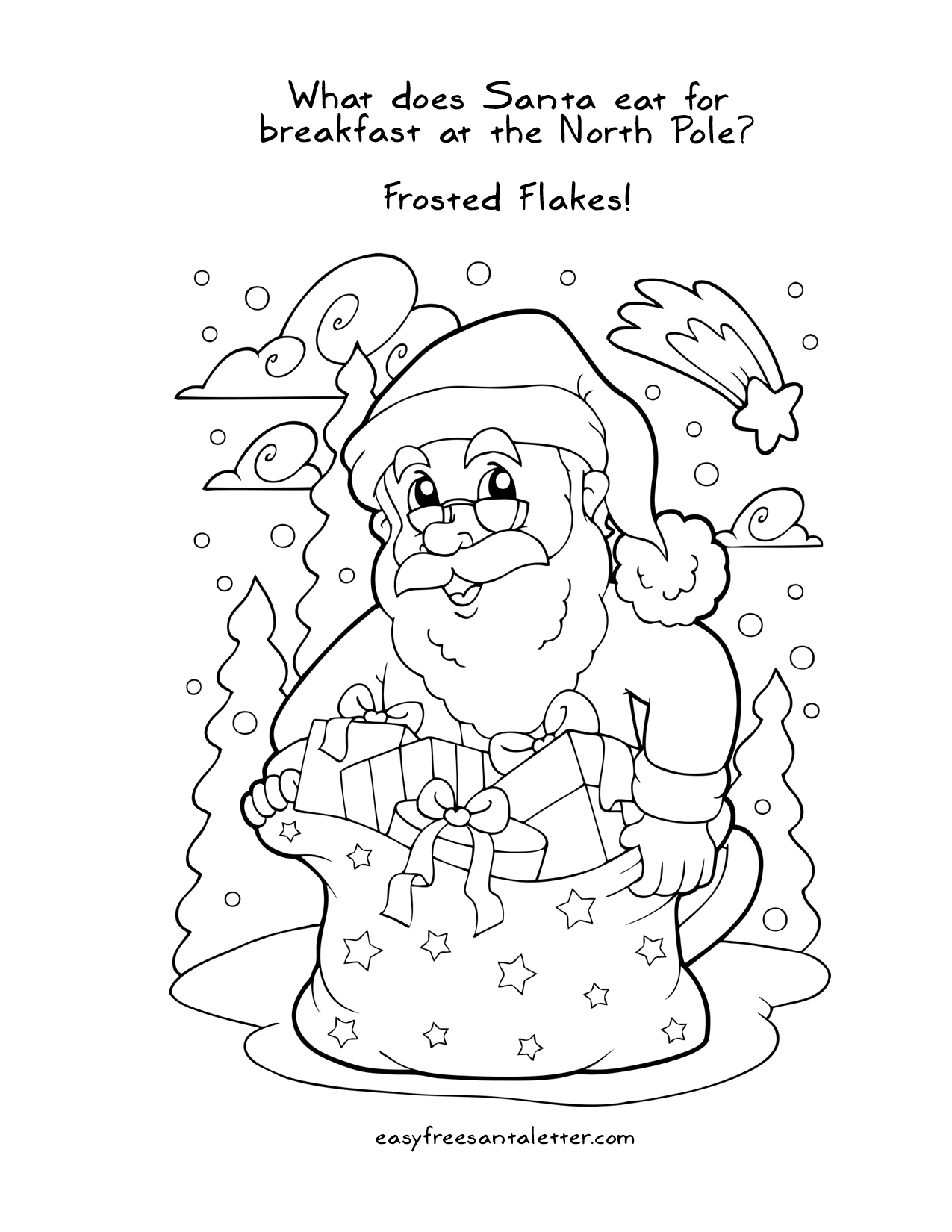 Christmas Coloring Pages Printable Santa With Free Jokes And
