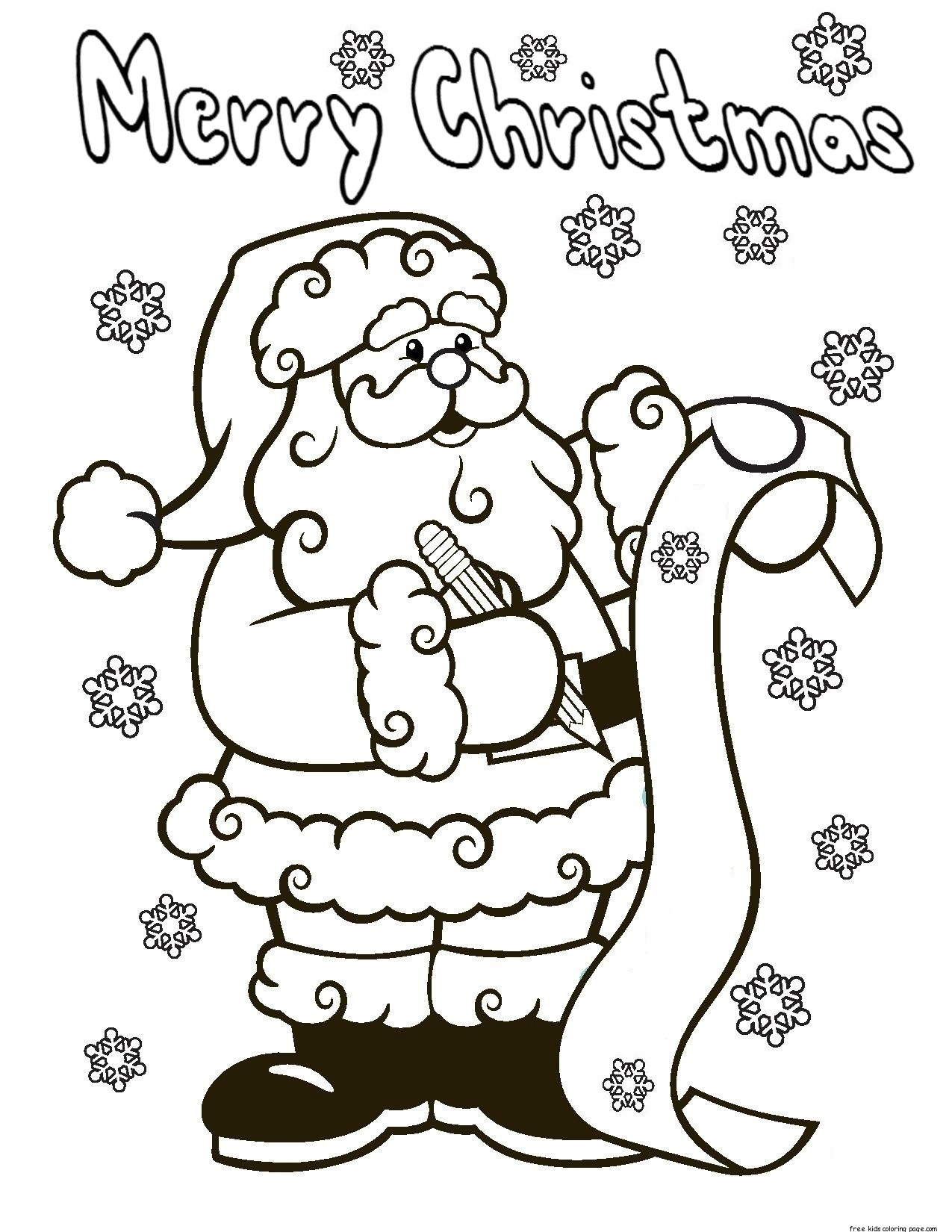 Christmas Coloring Pages Printable Santa With Online Download Free Books