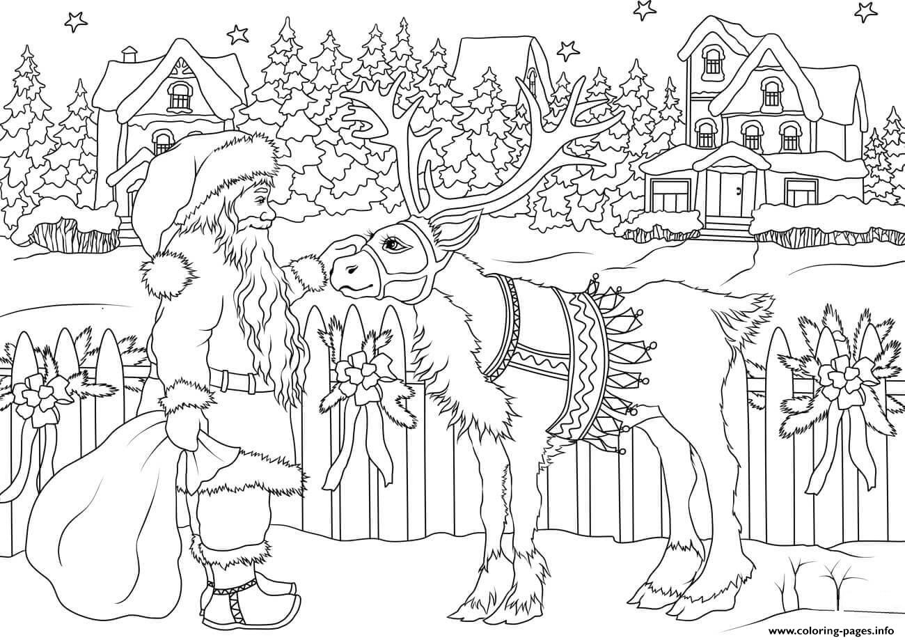 Christmas Coloring Pages Printable Santa With Vintage Claus His Deer
