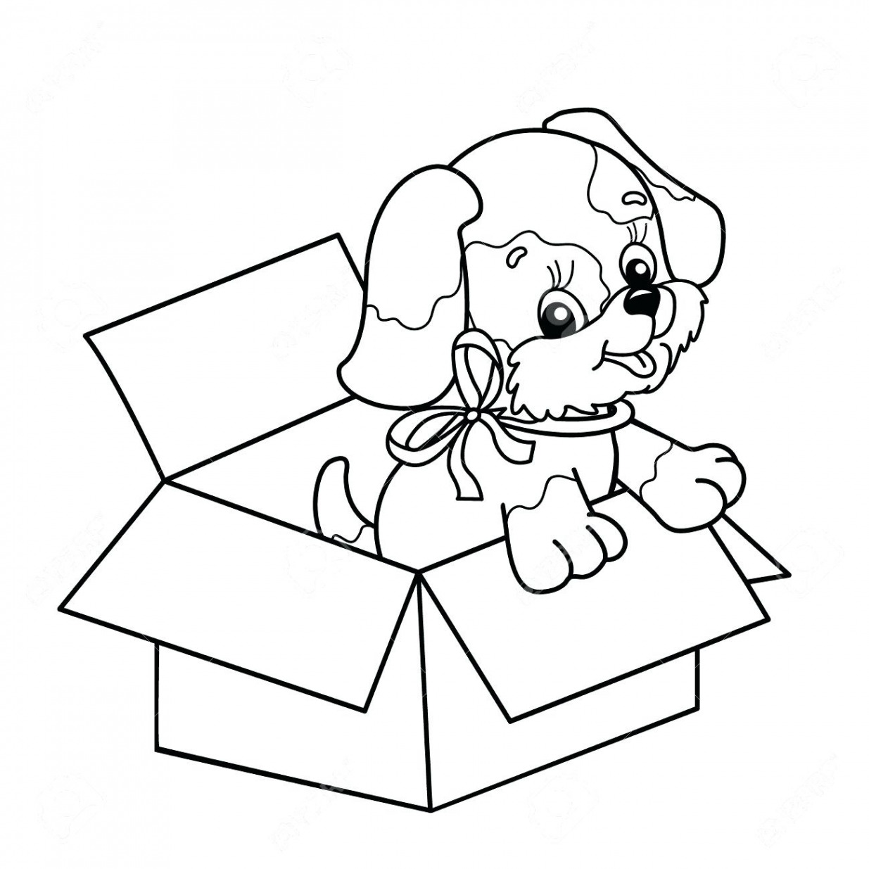 Christmas Coloring Pages Puppy With And Ribbon Lovely Jacob