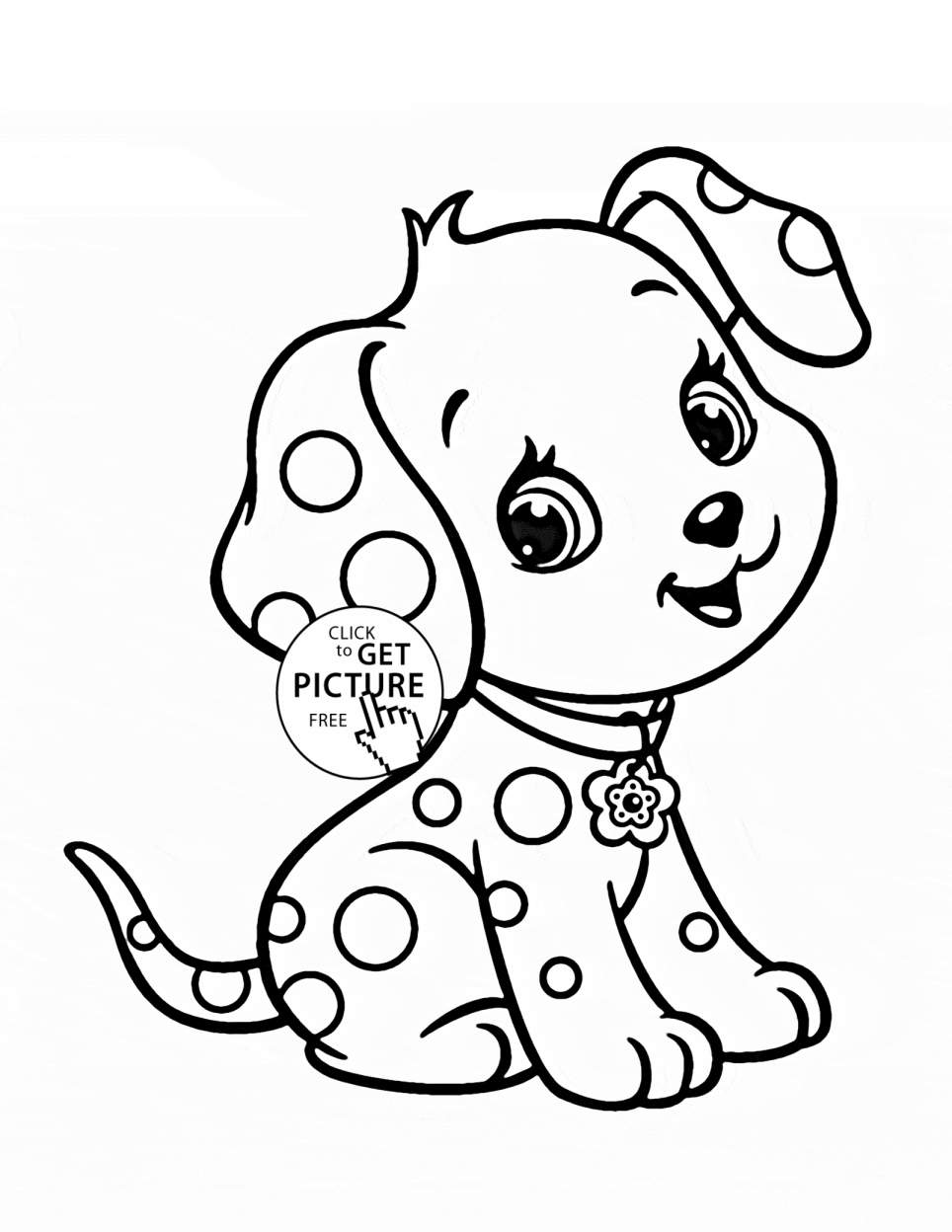 Christmas Coloring Pages Puppy With Bow Page Free Printable Cartoon