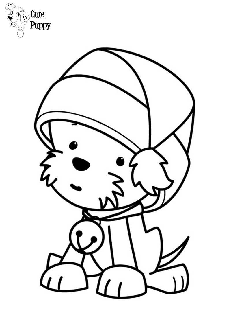 Christmas Coloring Pages Puppy With Cute Bratz