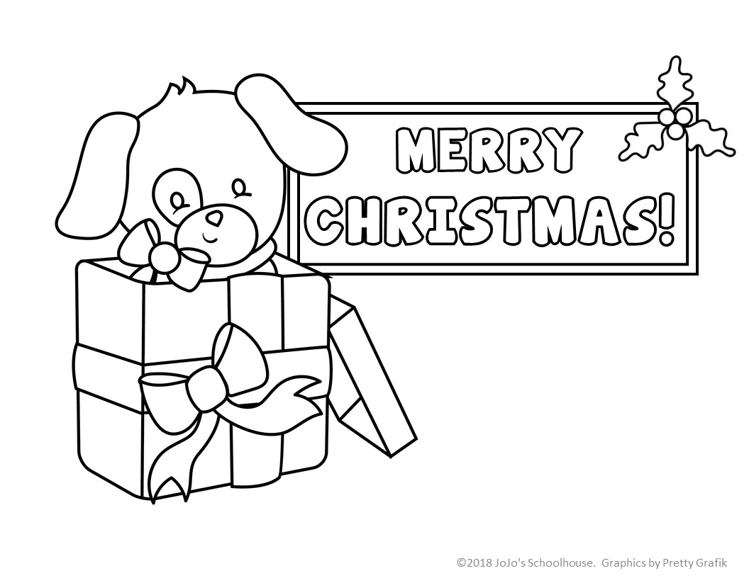 Christmas Coloring Pages Puppy With