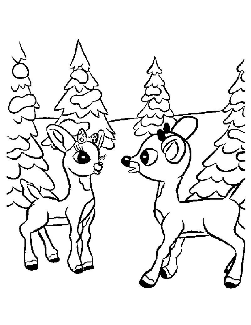 Christmas Coloring Pages Reindeer With Comet And Rudolph Hellokids Com