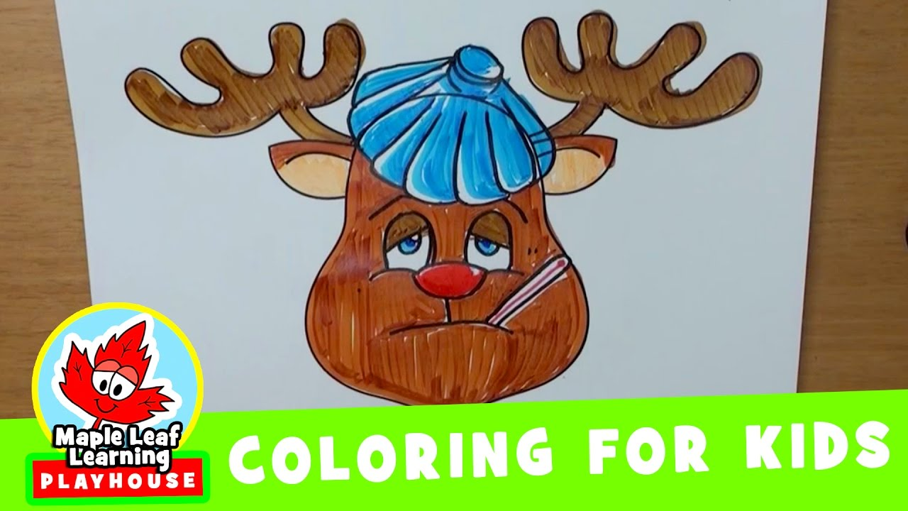 Christmas Coloring Pages Reindeer With For Kids Maple Leaf Learning Playhouse