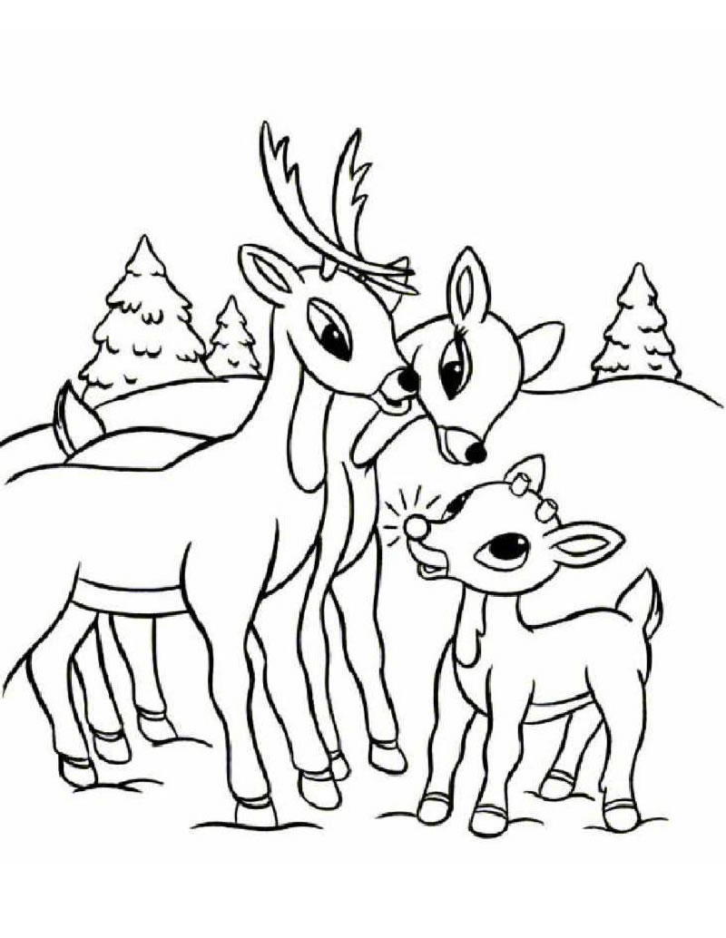 Christmas Coloring Pages Reindeer With SANTA S REINDEER 25 Xmas Online Books And