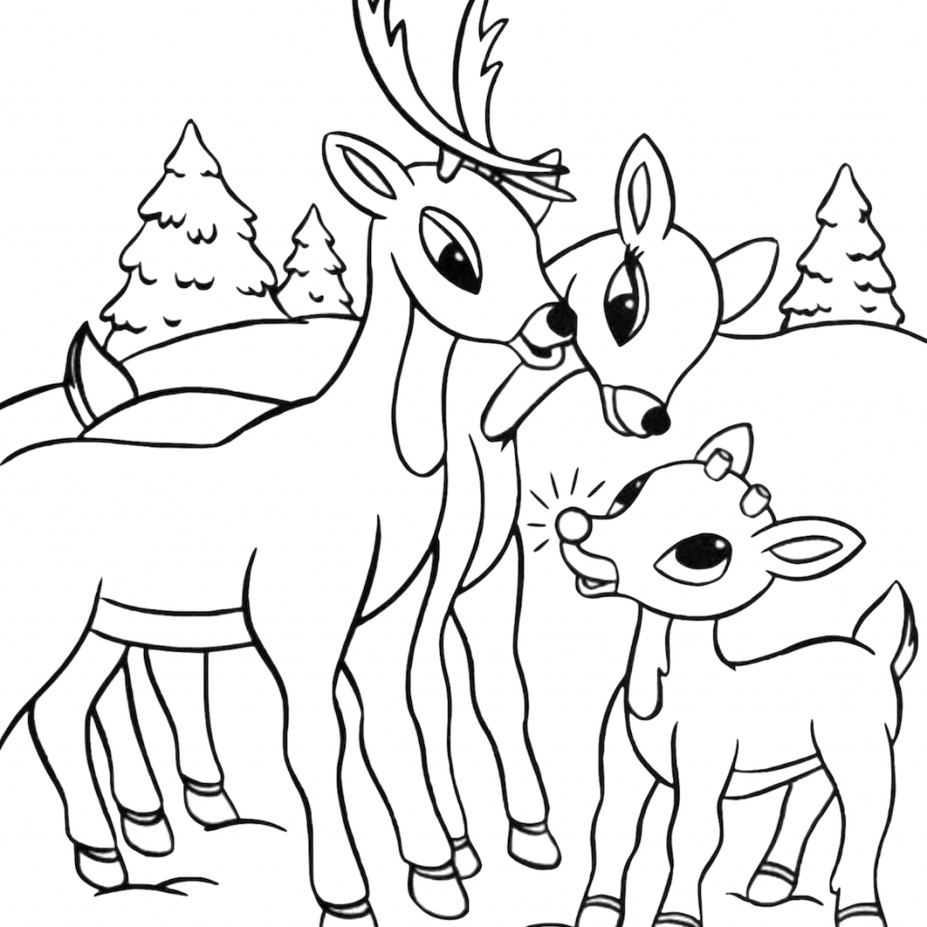 Christmas Coloring Pages Rudolph Red Nosed Reindeer With 36 Wonderful Pics Of The