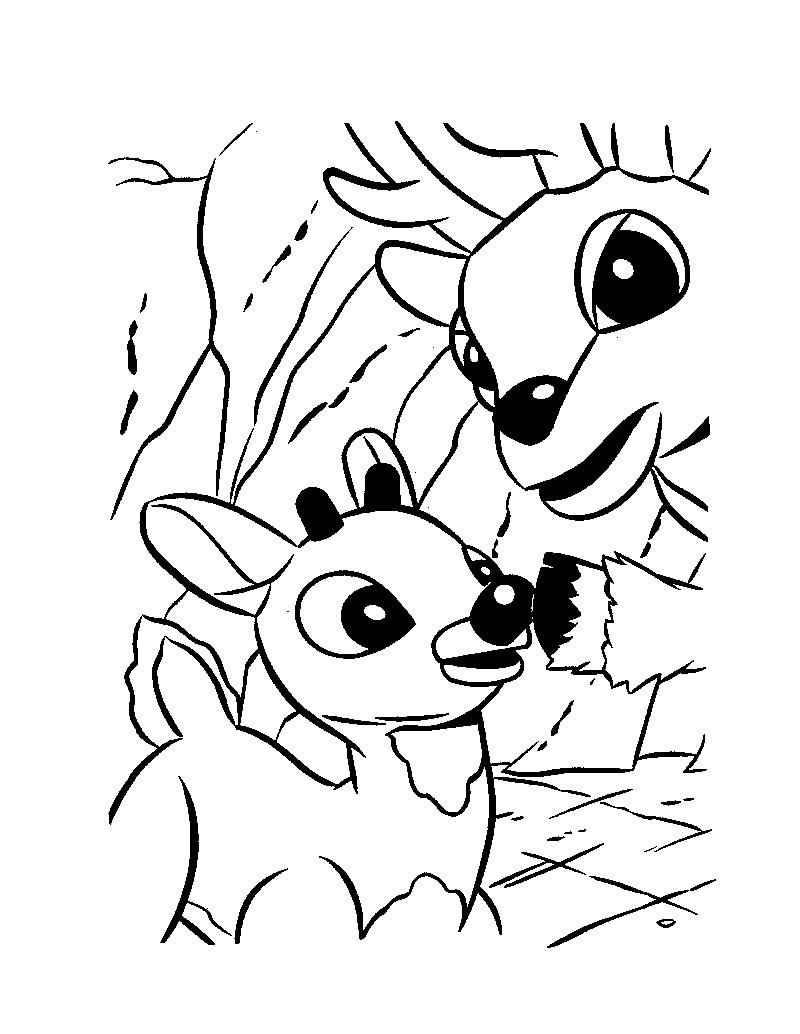 Christmas Coloring Pages Rudolph With And His Dad Donner Hellokids Com