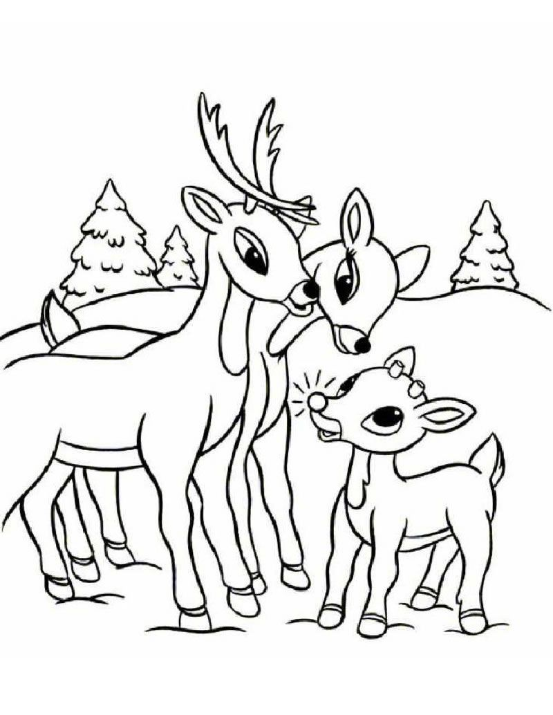Christmas Coloring Pages Rudolph With Free Printable Reindeer For Kids