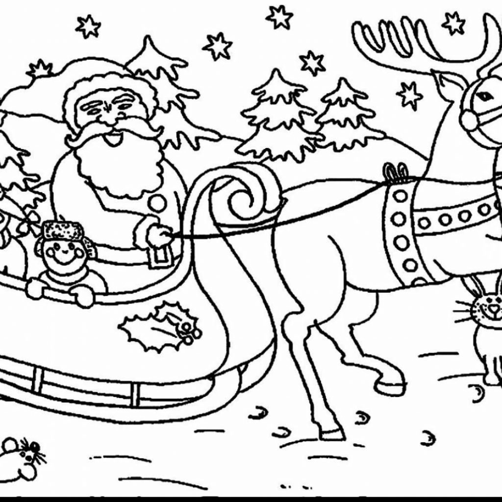Christmas Coloring Pages Santa And Reindeer With Extraordinary Sleigh