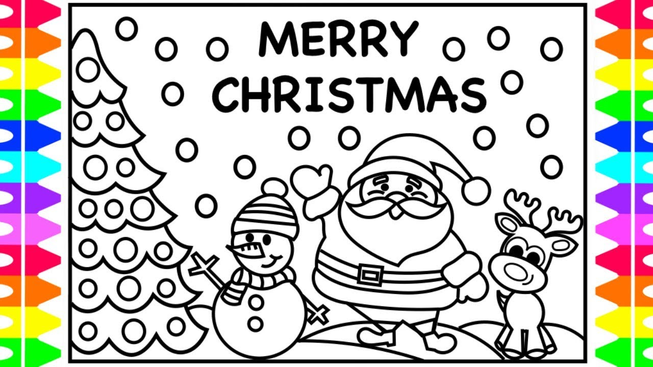Christmas Coloring Pages Santa And Reindeer With MERRY CHRISTMAS EVERYONE For Kids