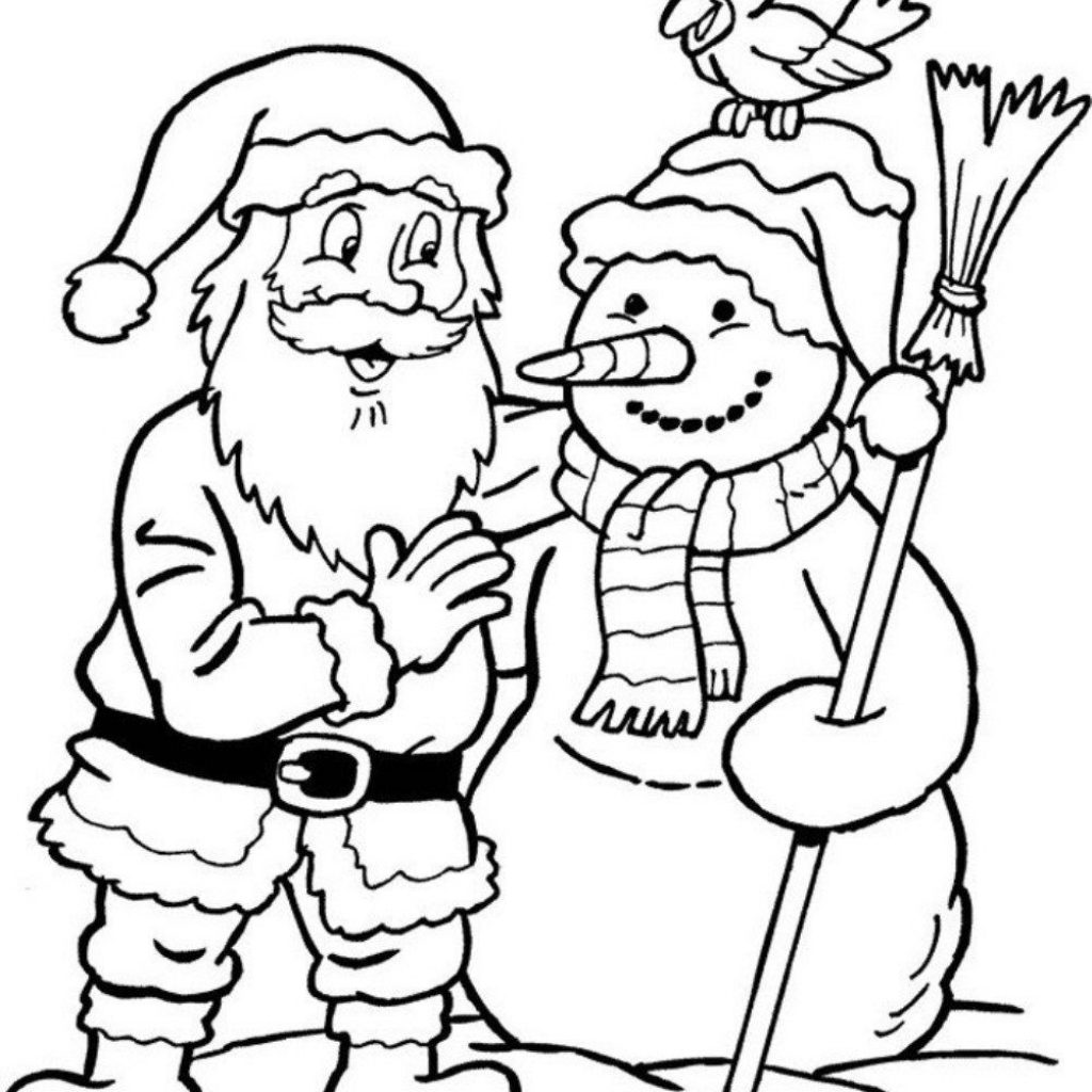 Christmas Coloring Pages Santa And Reindeer With Pinterest