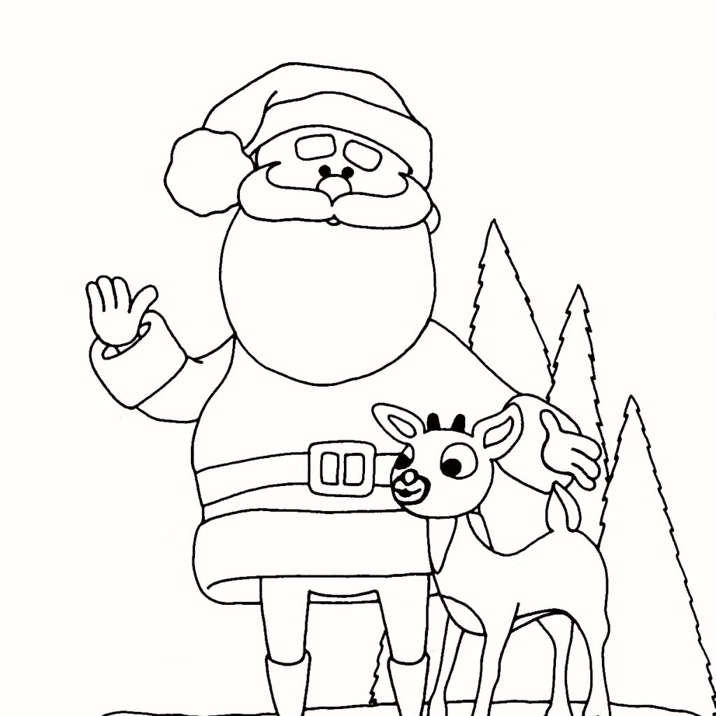 Christmas Coloring Pages Santa And Reindeer With S Best Image Of