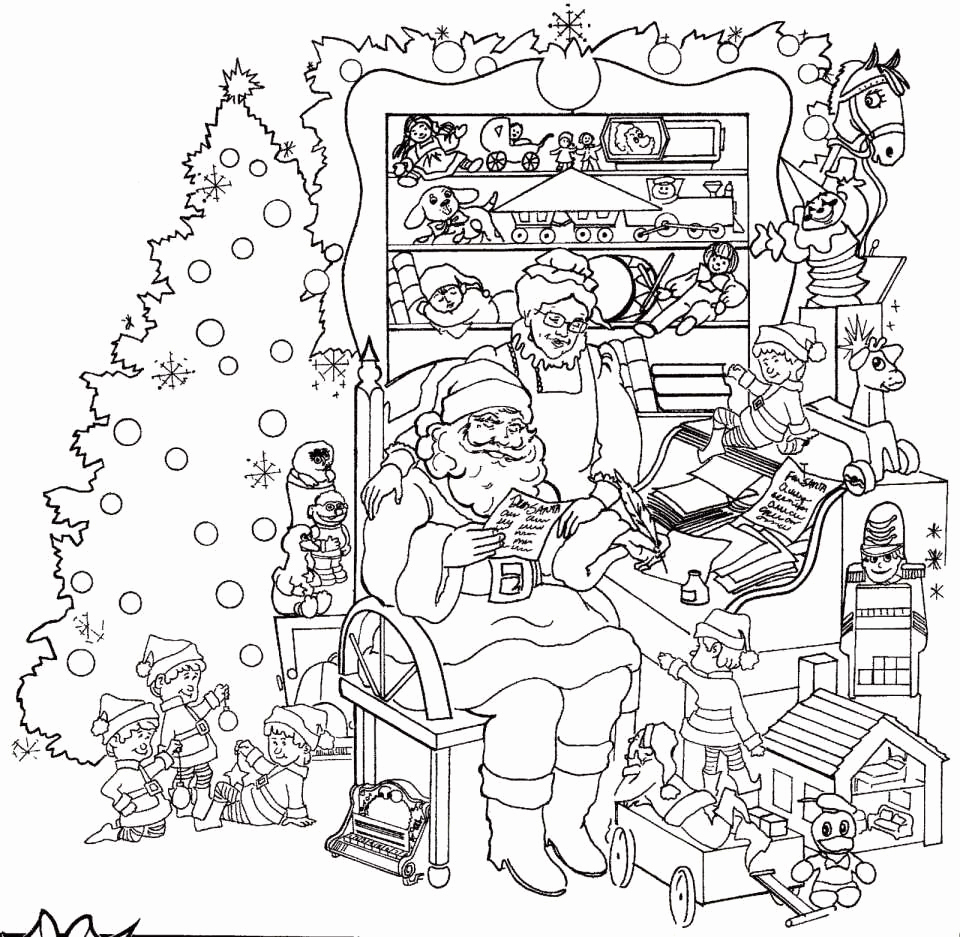 Christmas Coloring Pages Santa And Reindeer With Santas Best Of