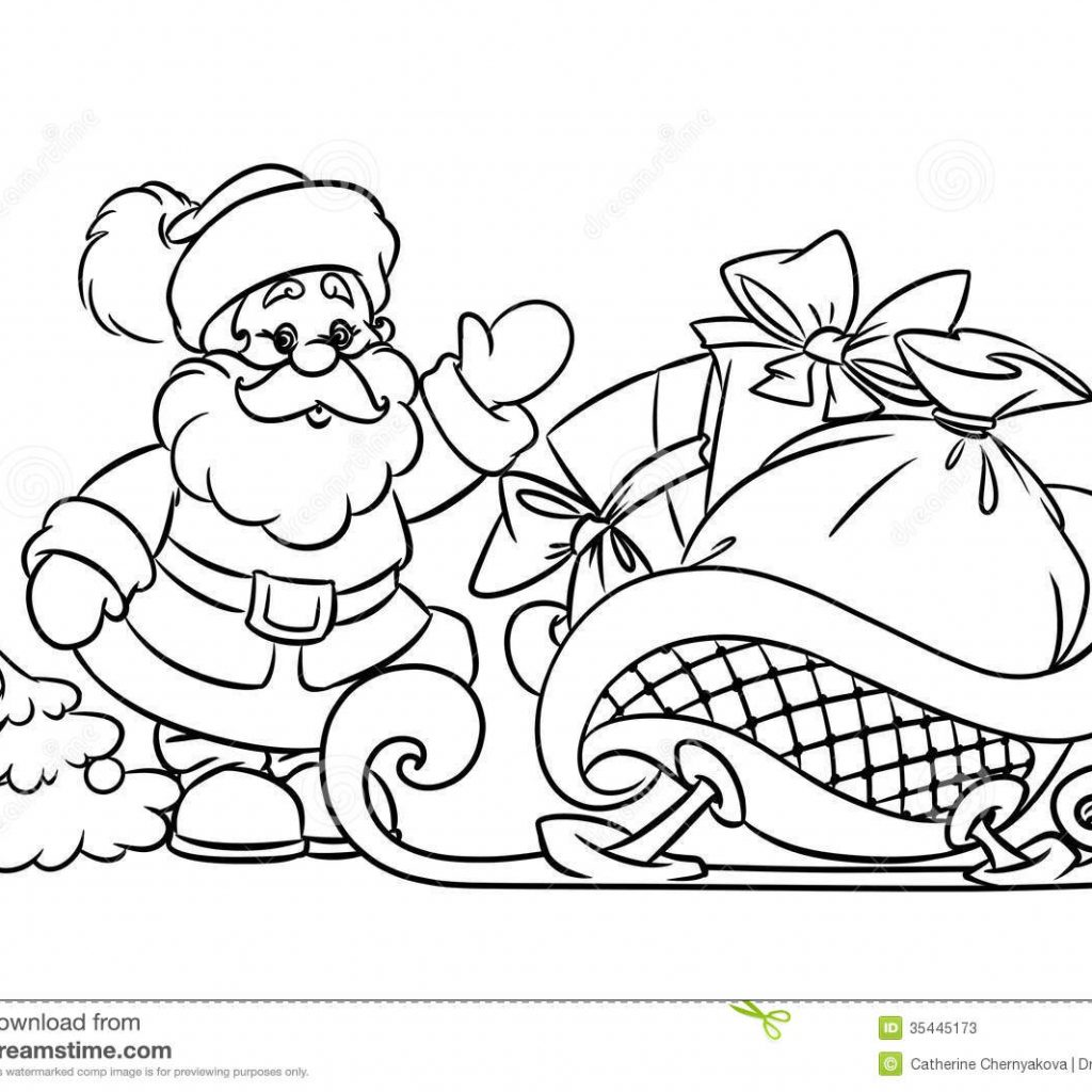 Christmas Coloring Pages Santa Sleigh With Claus And Gifts Stock Illustration