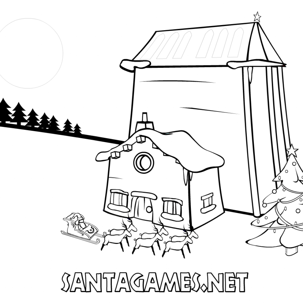 Christmas Coloring Pages Santa Sleigh With Claus On His SantaGames Net