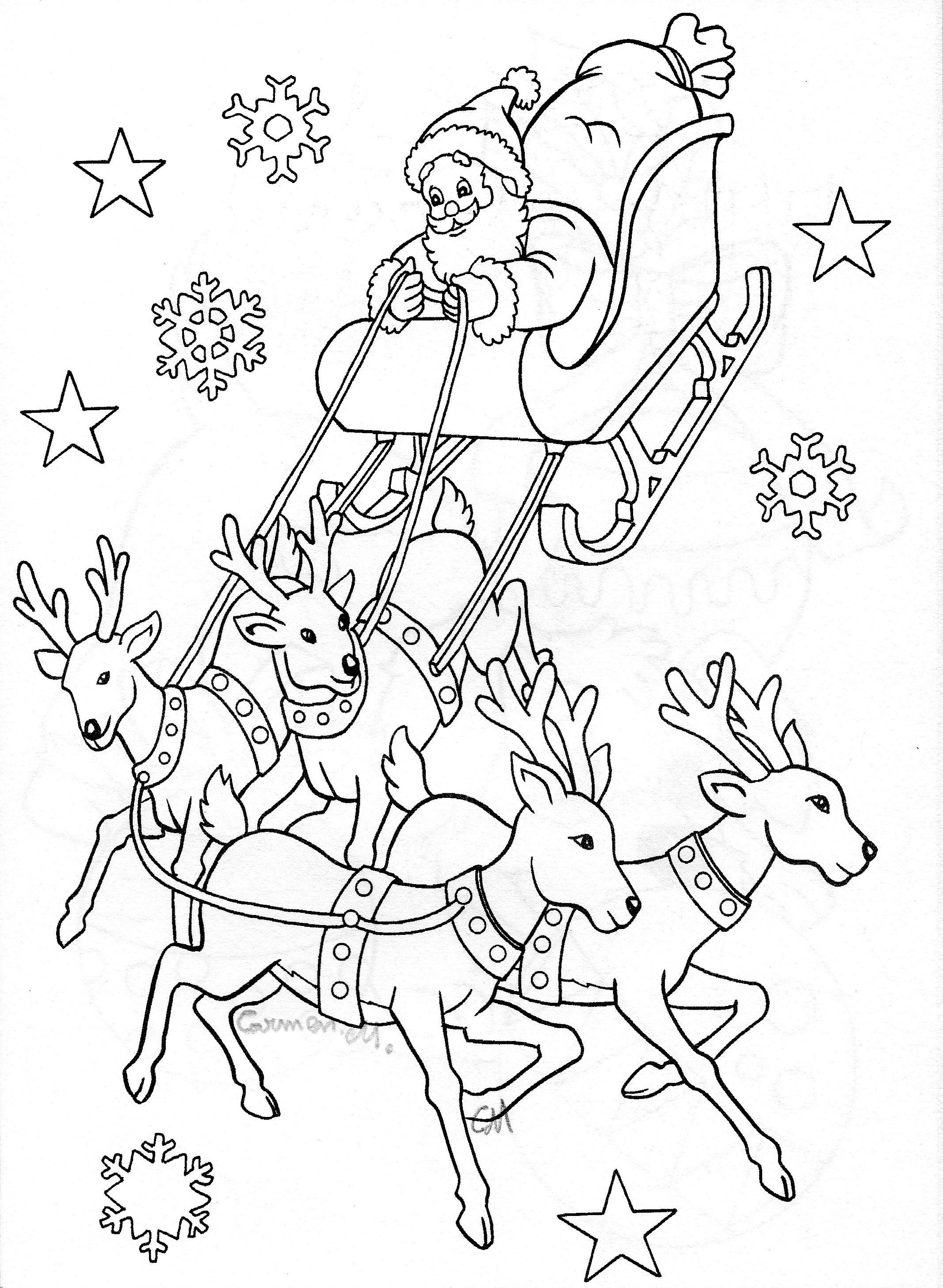 Christmas Coloring Pages Santa Sleigh With Drawing Art Pinterest And