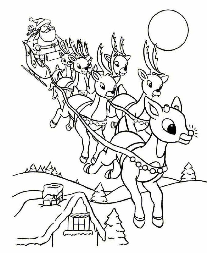 Christmas Coloring Pages Santa Sleigh With Online Rudolph And Other Reindeer Printables
