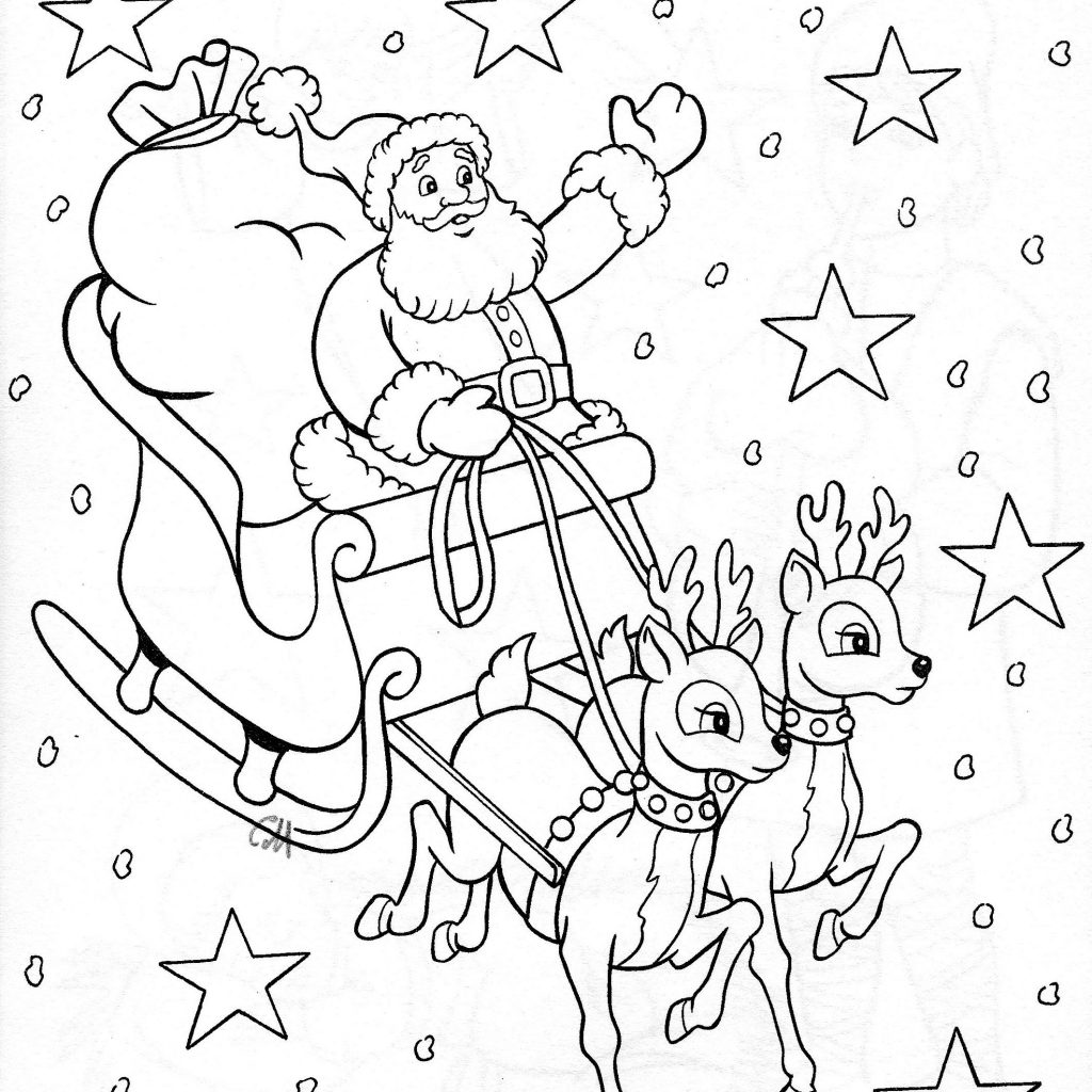 Christmas Coloring Pages Santa Sleigh With Sonia Eslava Pinterest Colors
