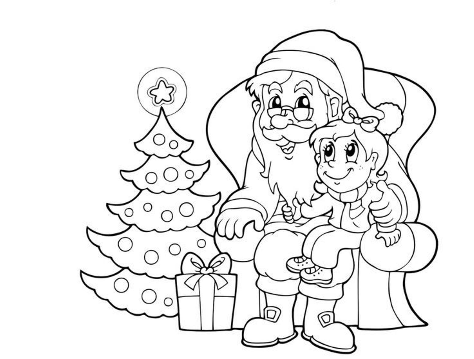 Christmas Coloring Pages Santa With Drawn Sanya Page Pencil And In Color