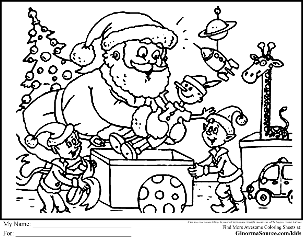 Christmas Coloring Pages Santa With For Adults Here Is Supervising The