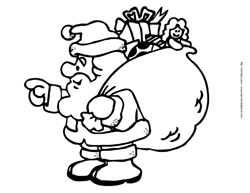 Christmas Coloring Pages Santa With My Land