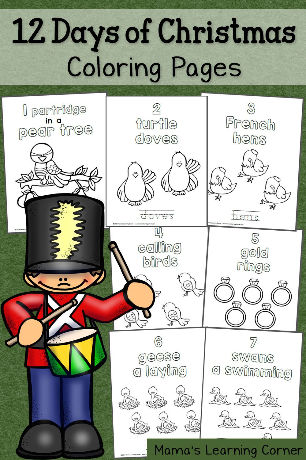 Christmas Coloring Pages Set With 12 Days Of Kid Blogger Network Activities
